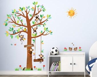 Decowall, DM-1401, 5 Little Monkeys Tree Large Wall Stickers