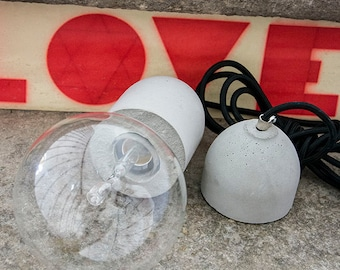 Concrete Pendant Lamp - Modern Industrial Light in cement