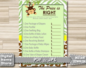 Printable Price is Right, Baby Shower Game Monkey - Price Is Right Printable Monkey - Baby Shower Monkey Game - Instant Download - jm1
