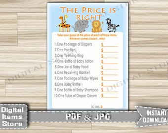Safari Baby Shower Printable Price is Right - Baby Shower Game Jungle Animals - The Price Is Right Zoo Party Games - Instant Download - sb1