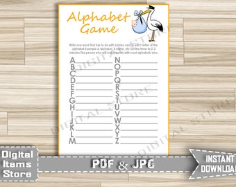 Baby Shower Alphabet Game with Stork - Name Game Printable - Alphabet Baby Shower Game Stork Orange White Boy Girl - Instant Download - so1