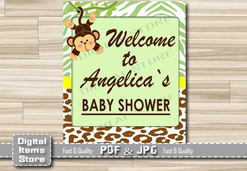 monkey welcome sign baby shower welcome baby by digitalitemsshop