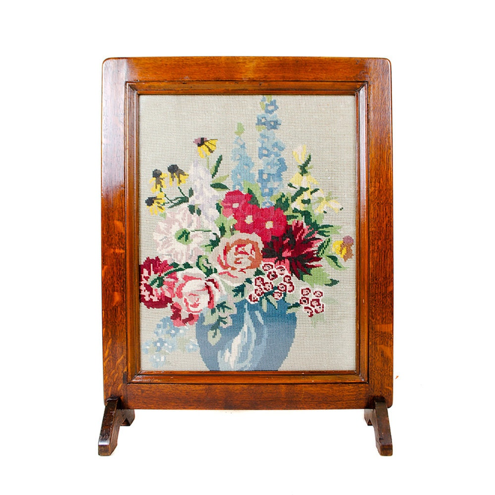 vintage floral tapestry fireplace screen roses wooden