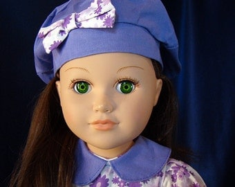 "Purple European Dress, Hat & Shoes Too; 18"" Doll Outfit for American Girl Style 18"" Dolls! School or Dress Up Doll Clothes"