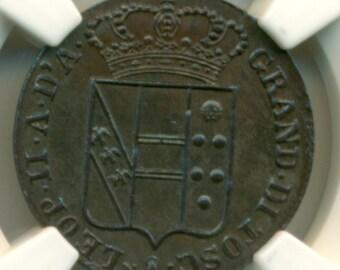 Italy Tuscany 1853 3 Quattrini UNC Details NGC