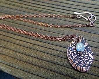 Stamped Copper Pendant with Rainbow Moonstone Bead