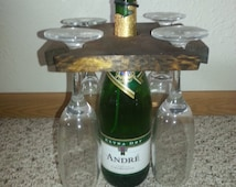 Wine or Champagne Bottle Holder and Glasses Holder