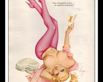 """Vargas Playboy Pinup Girl Vintage February 1965 """"Proposition"""" Sexy Blonde Nude Mature Pink Leggings Wall Art Deco Print"""