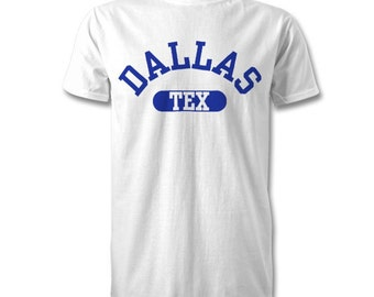 Dallas City State T-Shirt - Kids and Adult Sizes Available - White/Royal