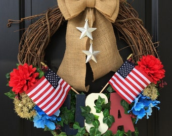 Patriotic Wreath, Red White and Blue, 4th of July Door Wreath, July Fourth Wreath, Memorial Day Wreath, American flag, Year Round Wreath