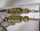 Czech Green and Gold Glass Bead Earrings