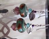 Light Green Murano Glass Lampwork Bead Earrings
