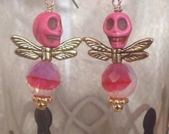 Pink Skull Fly Earrings