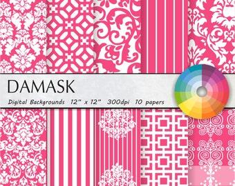 Pink damask digital paper Pink digital paper Pink damask digital paper Pink damask digital paper Pink damask digital paper 10pk