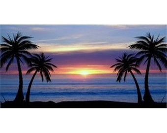 Blue Palm Tree Sunset Photo License Plate - LPO683