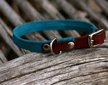 Small suede dog collar, leather tab, colored suede, special orders welcome.