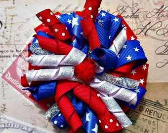 Red White and Blue Stacked Korker Bow