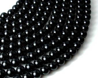 Black Tourmaline Beads, 8mm (8.5mm) Round Beads, 15.5 Inch, Full strand, Approx 47 beads, Hole 1 mm, A quality (147054001)