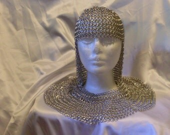 Chainmaille Hood Coif Armor medieval renaissance Costume Cosplay accessory