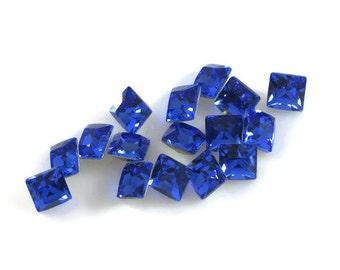 Swarovski Crystal Stone 4428 Sapphire F-Foiled 6mm Square