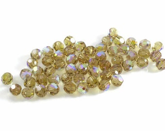 Swarovski Crystal 5mm Round Bead 5000 Light Colorado Topaz AB