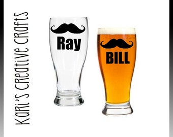 Mustache Pub Glass, Personalized Beer Glass, Father's Day Glass, Groomsmen Glass, Birthday Glass, Beer Goblet, Best Man Glass, mustache