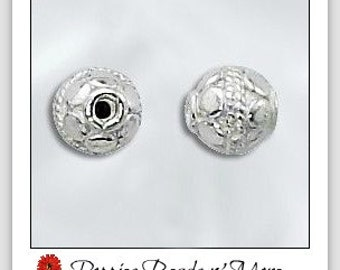 Sterling Silver - 6mm Bali Bead - Shiny Silver