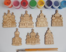 7 Slavic Churches Wood Craft Shapes for kids and Adult Coloring. Handmade Craft Supplies.Wooden Cutouts. Laser cut Shapes.Simple Crafts.013