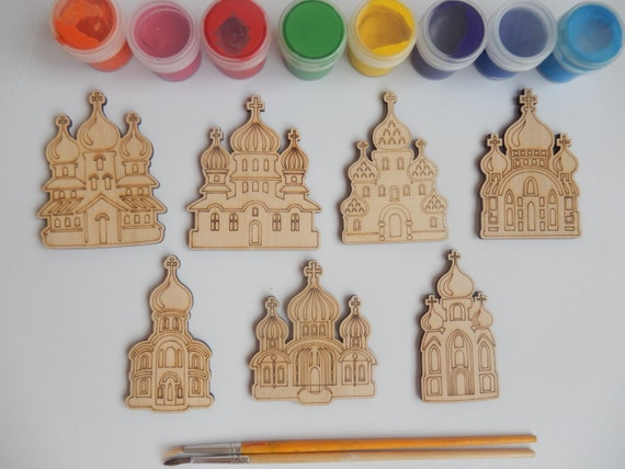 7 slavic churches wood craft shapes for kids and adult for Unique crafts to sell on etsy