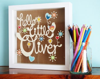 Hello little Bird Papercut Design Personal Use Template - DIY