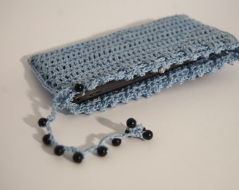 Handmade blue phone case.