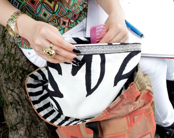 Black and white makeup pouch