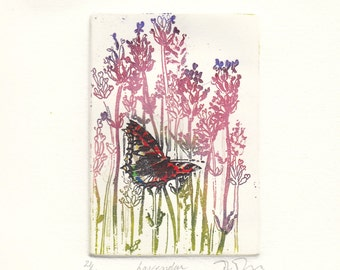 Lavendar, original etching, printed in colour with chine colle