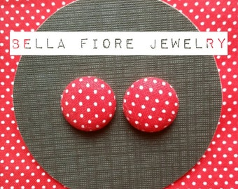 Red with White Polka Dots button earrings