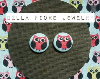 Owl button earrings