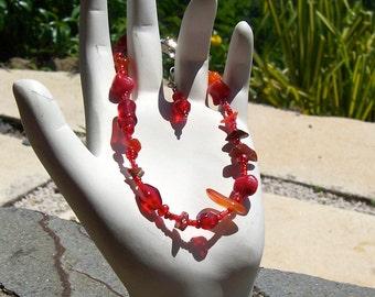 B135 - Red Bracelet, Single Strand, Custom Design, One of a Kind, Handmade Beaded Jewelry