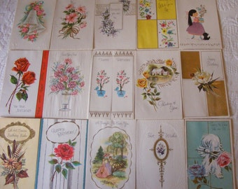 15 Unused 1960's Vintage Greeting Cards Birthday Get Well Thinking Of You Everyday