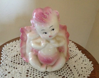 Vintage  little Pink baby Girl  planter was made by Hull in the 1950s-Nice Condition