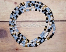 Waist Beads | Belly Beads | African Inspired | Belly Chains | Light Blue, Black, White, Gold