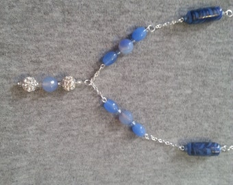 Blue and silver pendant necklace
