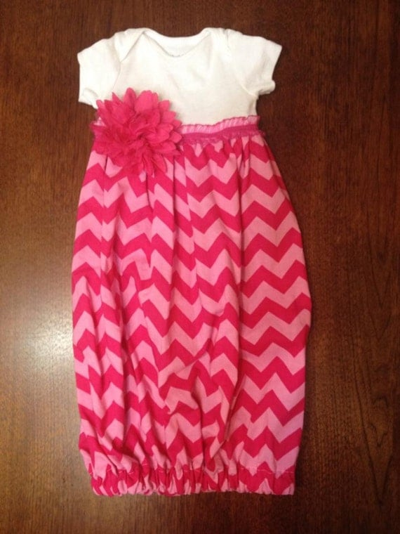 Infant Layette Gown- Pink Chevron
