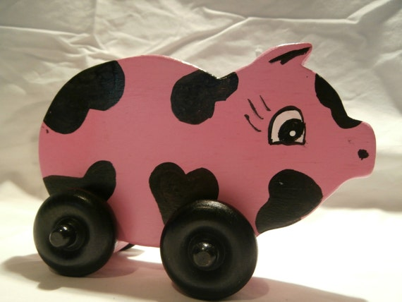 Wooden Toys Pig Wood Toy On Wheels Farm Aniamls Todler