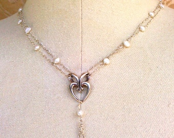 y-necklace with snow white nugget pearls