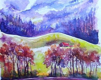 Watercolour painting of a Swiss lake and mountains