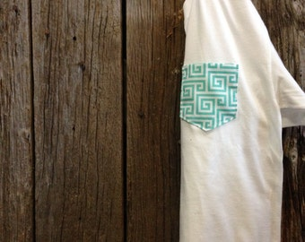Aqua Pattern Pocket Tee - Summer Whites