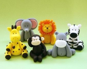 5 Fondant Animals.  Fondant jungle animals. Fondant safari animals cake topper