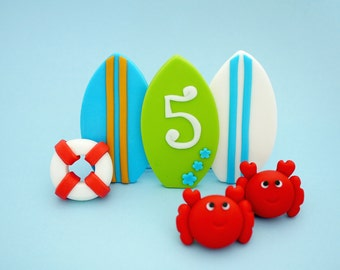 Fondant Surf cake Topper - Fondant surfboards, crabs, lifesaver for surfing, beach, summer party