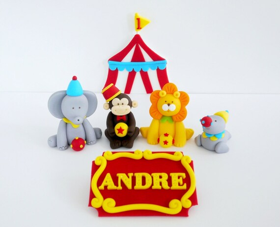 Fondant Cake Topper - Perfect for Circus themed party ! This listing includes 4 small fondant animals a circus tent u0026 a name sign - Circus seal ... & Circus Birthday Party Edible Cake Decorations | Birthday Wikii