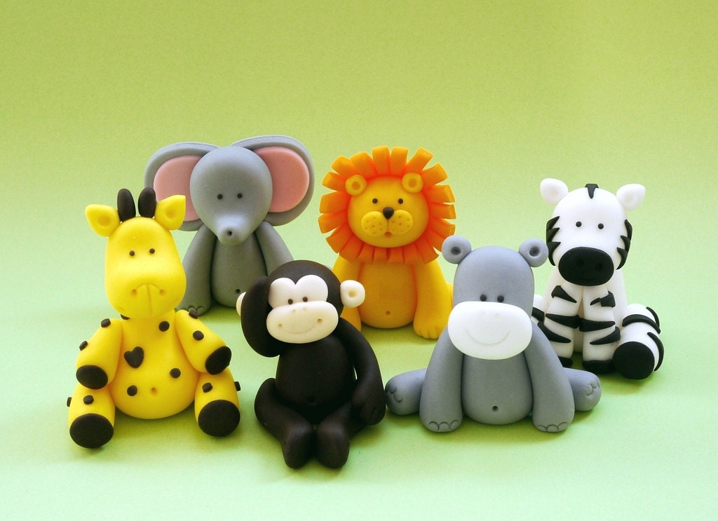 5 Fondant animals cake topper. Safari jungle by ...