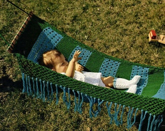 Instant PDF Download Vintage Seventies Crochet Pattern to make a Super Striped and Fringed Baby Hammock or Sling